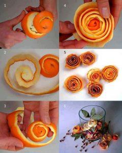 Trandafiri din coji de portocala